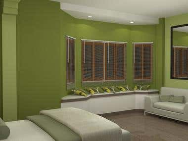 My interior rendering using Google sketch-up with plug - ins V-ray and Podium.