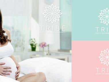 """Logo design achievement for the TRIBE.  TRIBE is a brand image support a healthy life for mothers.  The final version of the design was done by the combination of text and image of a stylized chrysanthemum.   Since this is known as the """"flower of life"""" her name reflects the AET TRIBE.  Chromatic I chose use pale blue, a color of calmness, tranquility and the pale pink color which marks the intellectual development."""