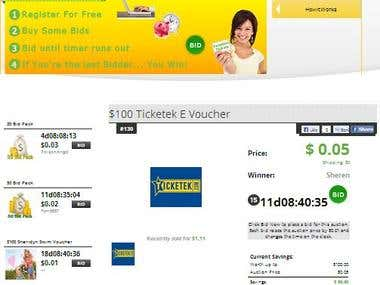 OneCentWinners is an Australian Penny Auction site we designed.