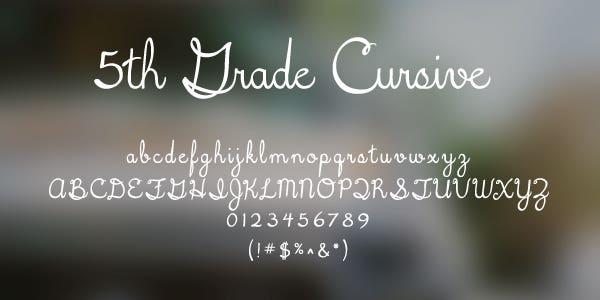 5th Grade Cursive Free Font