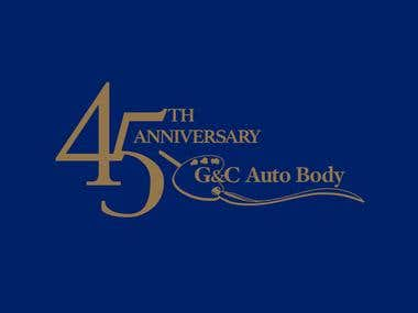 The client is looking for their 45th Anniversary version of G&C Auto Body logo. They wanted the design to incorporate some or all elements of the G&C logo. They also want a celebratory feel to the design.