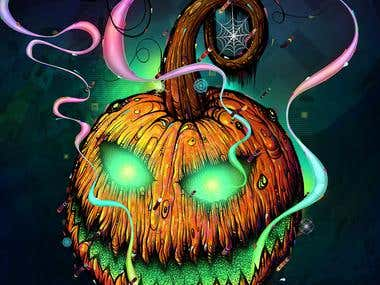 Mixed media illustration of Halloween pumpkin. It is created as combination of drawing on paper mixed together in Photoshop with other elements created with Illustrator, Painter And Silk.