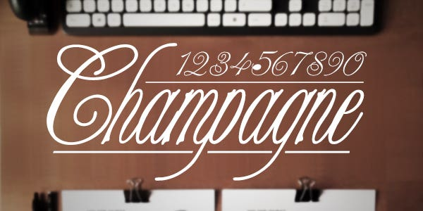 Champagne best number font