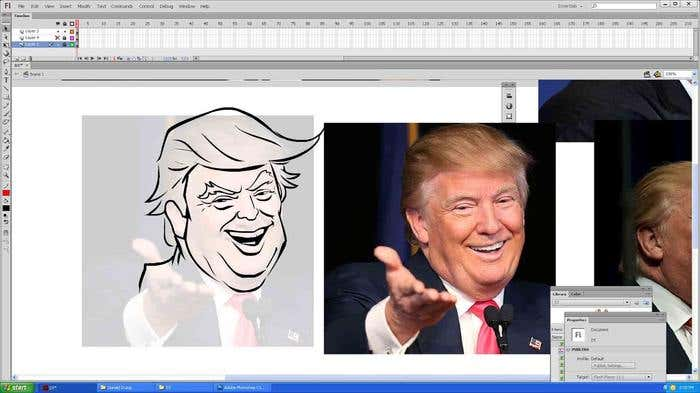 Step 6 of how to draw a caricature - cleaning up the lines of your Donald Trump caricature
