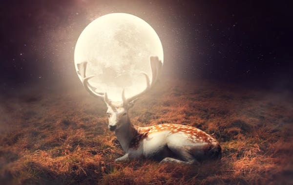 Creating a gorgeous Photo Manipulation: Moon between the horns of Deer
