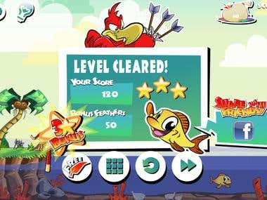 Game UI Design of the published game Arrows and Sparrows. Including Logos, Icons, banners in Appstore Game UI elements design etc.