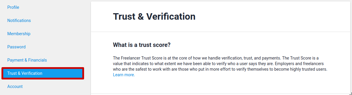 Trust & Verification tab