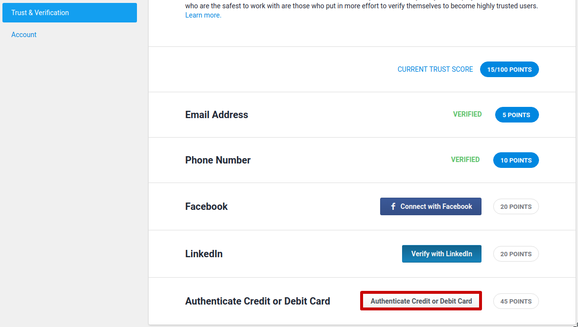 Credit / debit card authentication | Payments | Freelancer