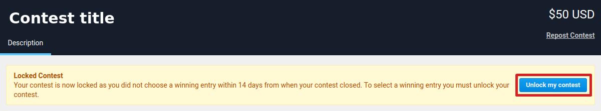 Unlock contest banner