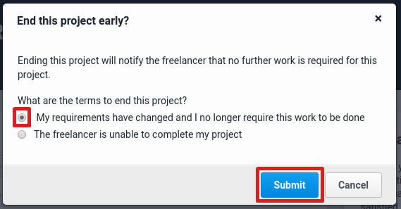 End project confirmation