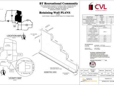 Bridge retaining wall detailed structural drawing for an USA client