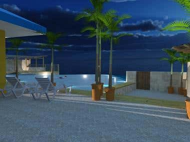 My outdoor rendering of the latest project at hand. I used Sketch-up and V-ray as my renderer.