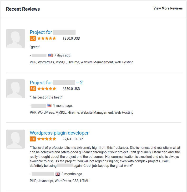 freelancer reviews