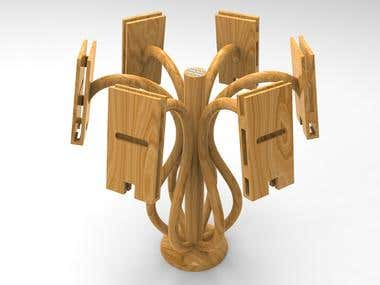 decorative wooden holder used to hold phones in different size and types, allow also to charge it while holding
