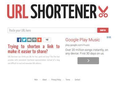 http://www.url-shortener.net/  Tools: javascript, jQuery, zeroClipboard, CSS3, HTML5, php, fontAwesome, addThis, Google Fonts