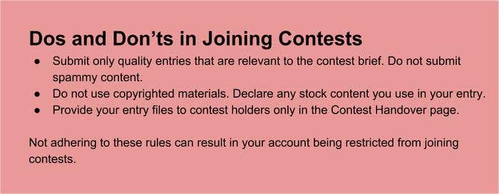 Dos and Don'ts in Joining Contests