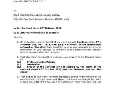 A letter terminating a contract for services