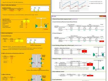 Excel-VBA;  Monorail beam design project.   I developed an Excel spreadsheet for analysis and design of monorail beams used for supporting monorail cranes. I used FEA for analysis of the monorail beam in selected spans with defined loads. Also inertia forces due acceleration and deceleration of hoist, skewing forces are considered in this Excel spreadsheet. Design of monorail for internal forces is performed according to AISC360, and CMAA#74 design codes. It should be mentioned that fatigue effects, local buckling controls, and deflection check are considered in the design of the monorail beam.
