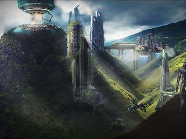 Matte Painting and photo bashing for cover and wallpaper purposes.