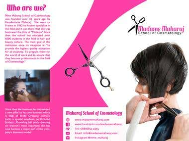 Madame Maharaj School of Cosmetology - brochure design.
