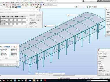 I made a Factory Design in robot structural analysis and verified all steel member sections by Etabs