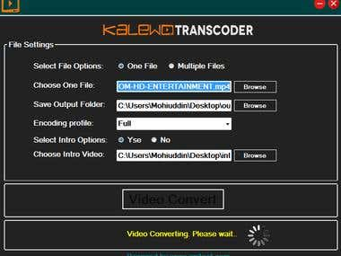 This is  a video transcoder windows application. This converts video with intro video in a different profile format 240p,360p,480p,720p,1080p and .....more options for live streaming videos. we includes also multiple videos file processing automatic system. So no need to manual video editing system.