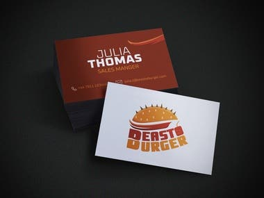 I have designed the business card for the Fast Food company.