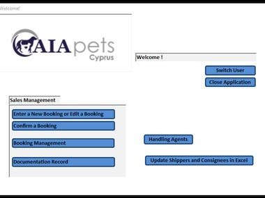 This is a complex and powerful Access database for pets transfer management. All records may be saved and updated both within this database and a macro-enabled Excel workbook that is linked with the database. Multiple reports are generated that can be viewed for reference or exported as PDF documents for sending to recipients.
