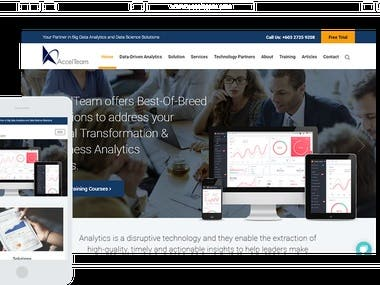 Accelteam.com Professionally Designed corporate website with full cutomized wordpress theme design