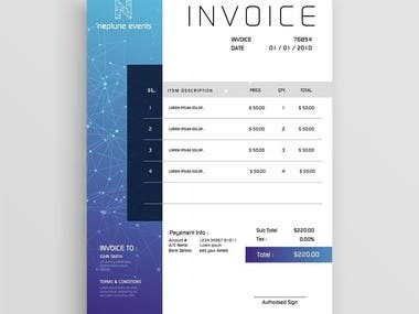 invoices and brand design for neptune events company