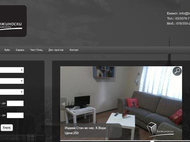 A modern website for Real Estate agency optimized for the local market in Macedonia.  We have designed the web from scratch, database design, Graphic design, and functionality. At the frontend, there is  Login form for the users that want to register for the website,  Search form according to all parameters important in Real Estate business, a gallery for all listings.  At the back end, we developed a Dashboard for managing the listings and User-friendly CMS for the client, connected with Google analytics and showed it in the Dashboard, to check what is the best run listing.
