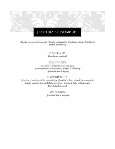 Classical Resume Style Draft for the sake of layout. Photo can be added ATS friendly Complete Editable Design in MS Word and PDF file Spanish and English content