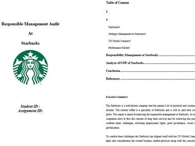 Its a report on Audit Management of a reknowned company called Starbucks. In this report all the mangement startegies of the company are critically analysed. All the factors that affect the Management are also discussed.