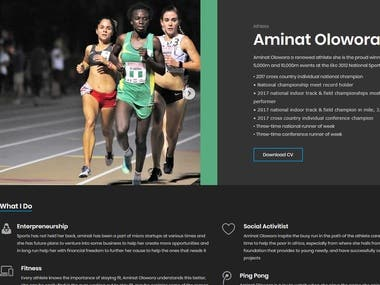 This is my athlete website, Made in wordpress, Responsive pages   Developed in 2 Days