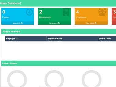 This is the dashboard for admin of Human Resource Management System.