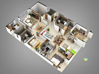 Interior renders and interactive plans