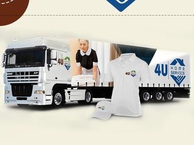 4U Home services logo presentation