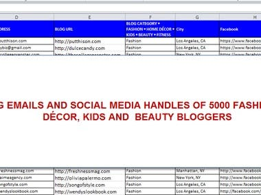 FINDING EMAILS AND SOCIAL MEDIA HANDLES OF 5000 FASHION, HOME DÉCOR, KIDS AND  BEAUTY BLOGGERS