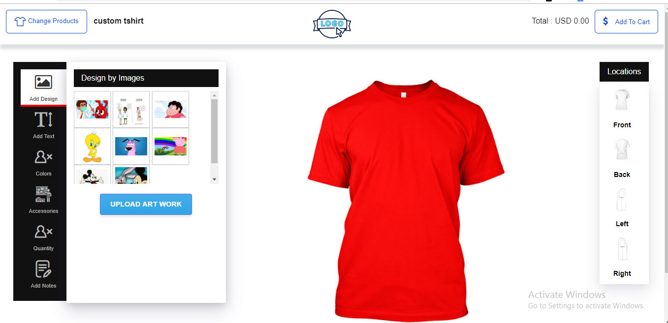 its shopify store, there user can customize design and make a custom print on t shirt, purchase from stores. user can customize uploaded images color and background,text and many more things all things are made with shopify various api calls using php whole store also manage from custom app, there admin can see diffrent orders ,print price settings, gallery and many more.. you can get idea checking by screenshots