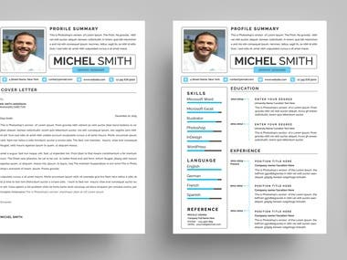 Resume with Letter,,,, CMYK, PSD, 300 DPI, Print Ready, Free font,100% Editable.  word, AI, PSD