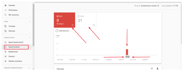 google search console mobile usability tab