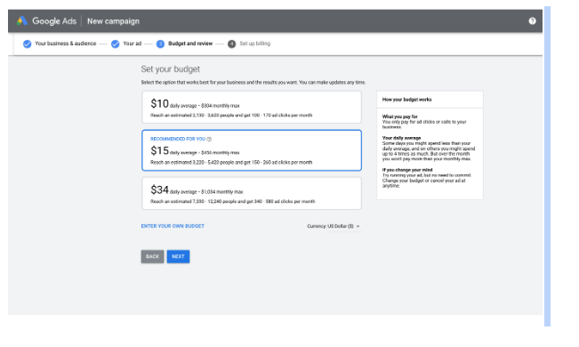 adding budget to google ads