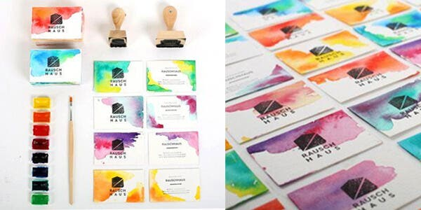 Watercolors design for modern business card