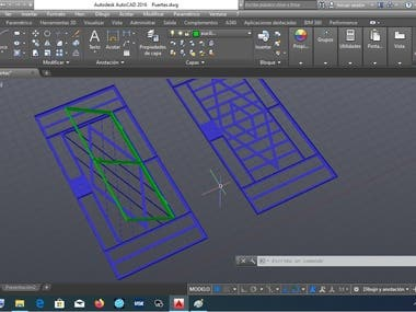 Sample skills in AutoCad, 2D and 3D modelling.