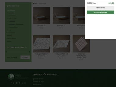 Ecommerce created with wordpress-woocommerce according client specifications