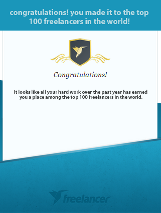 I'm ranked as one of the top 100 freelancers in the world!